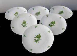 6 ROYAL TETTAU WHITE PORCELAIN AND GREEN FLOWERS SALAD DESSRET PLATES BAVARIA