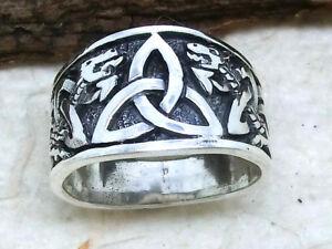 Triquetra Triskele 925 Sterling Silber Ring Band Ring Drache keltischer Knoten