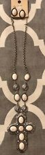 New Tipi White Stone Cross Necklace And Earring Set Silver Tone