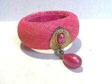 Vintage Runway Bangle Bracelet Pink Dangle Jewel Cloth