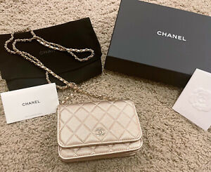 Chanel 21P Iridescent Gold Mini WOC Clutch Case Wallet Mermaid Pouch Ghw