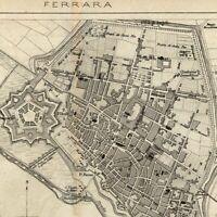 Ferrara Italy Italia 1873 detailed old city plan map