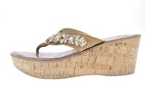 Womens SAM EDELMAN tan brown leather thong wedge sandals sz. 6-9 $99