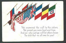 Ca 1915 WWI PPC* Flags Of Allies US Belgium Montenegro Great Britain See Info
