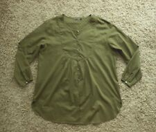 NEW Womens Gudrun Sjoden Front Button Crew Neck Shirt / Tunic in Khaki - Size XL