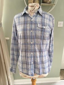 CRAGHOPPERS LADIES LONG SLEEVED HIP LENGTH BLUE CHECK SHIRT SIZE 12