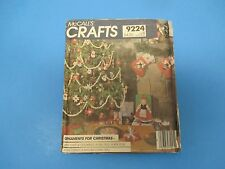 Vintage Sewing Pattern McCall's 9224 Crafts Christmas Ornaments, Stockings, S756