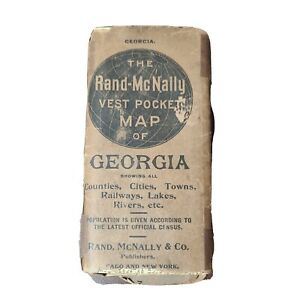 The Rand-McNally Vest Pocket Map Of GEORGIA All Counties, Railroads Cities 1909