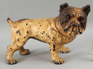 Antique Hubley Cast Iron English Bulldog Dog Doorstop Original 1st Paint NR