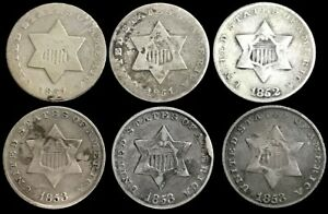 (6) 1851- 1853 SILVER UNITED STATES 3C THREE CENT PIECE CIRC COIN LOT