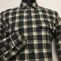 J. CREW Factory Flannel Work Shirt in Gray, Beige, Red Plaid size: Medium