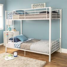 Metal Twin over Twin Bunk Bed in White Finish