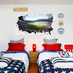 Manchester City FC Wall Art - Lifting Trophy Etihad Stadium Smashed Wall Mural