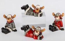 722157 Deco Figura Alce Rojo Gris Sentado O tumbado hecho de cerámica a mano