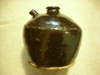 A Brown glazed 19thC American Redware Jug #3 (13cm H X 13cm W & 11.5cm base)