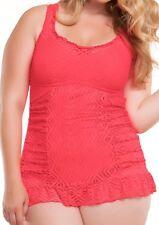 Rebecca Virtue Becca Swimdress Sz 0X 14-16 Tart Pink Crochet Swimsuit 3581147