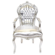 CHAIRS FRANCE BAROQUE STYLE DINING ROYAL CHAIR WITH ARMRESTS SILVER/SILVER#70F31