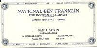 Vintage Ink Blotter Ben Franklin Fire Insurance Hamilton Toronto ON Canada