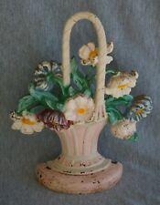 """Hubley #182 Cast Iron Flower Basket Doorstop - 8 3/4"""""""