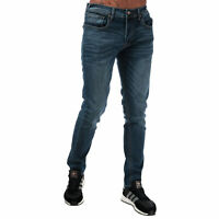 Mens Duck And Cover Overbug Tapered Jeans In Denim- Dark Wash- Zip Fly- 5 Pocket