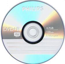 10 PHILIPS Blank DVD+R Plus R Logo Branded 16X 4.7GB Media Disc