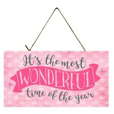 Pink It's the Most Wonderful Time of the Year Printed Handmade Wood Sign