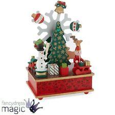 Gisela Graham Wooden Musical Santa Snowman Moving Box Gift Christmas Decoration