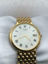 Citizen Vintage Men's  Analogue Quartz Slim-4MM! thick Date Gold Plated Watch
