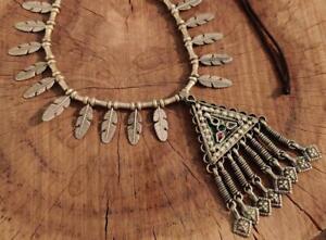 Handmade Vintage Rare Banjara Tribal Afghan Kuchi Gypsy Ats Pendant Necklace