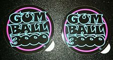 """2 New Blue & Pink """"GUM BALL 3000"""" Rally Racing Decal Sticker,  4 X 4 IN."""