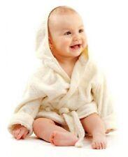 Baby Bademantel mit Kapuze Gürtel und Knopf beige weiches Frottee