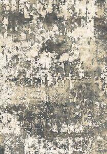 Bangor Area Rug Runner Modern Abstract Distressed Black Gray Cream Matching
