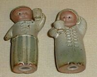 2 VTG UCTCI Stoneware Figurines Japan clay Pottery incense candle holder pot Mid