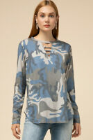 Entro Blue Camouflage Long Sleeve Cut-Out V-Neck Top
