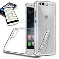Silikoncase Transparent Tasche + 0,3 H9 Hart Glas für Huawei P10 Lite Hülle Neu