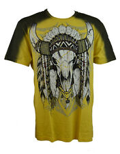 KONQUEST PLATINUM Men's Indian Buffalo Skull Print T-Shirt Yellow (KQTS063a)