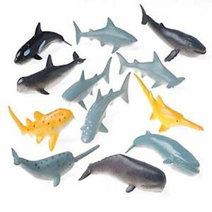"""12 - 3"""" Toy Shark And Whale Assorted Figures"""