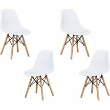 "Best Master Furniture Mickey 17.5"" Plastic Dining Chair in White (Set of 4)"