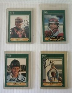 Autographed Jockey Cards~Lot of 4~Smith/Pincay Jr./Santos/Perret~1991