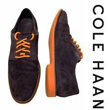 Cole Haan Sz 11 Suede Oxfords Shoes Wingtip Almond Toe Chocolate Brown & Orange