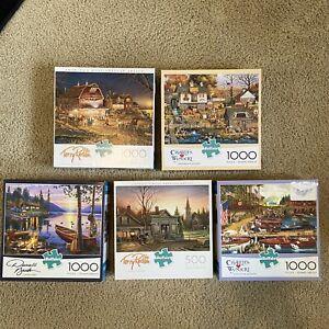 LOT 5 Buffalo Puzzles (4) 1000 Piece (1) 500 Piece Redlin Wysocki Bush