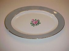 Correct Table Service China Brittany Rose Grey Oval Serving Platter