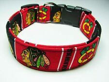 Charming Handmade Chicago Blackhawks Dog Collar Small