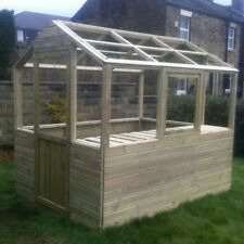 8x6 wooden greenhouse heavy duty tanalised FRAME ONLY free staging & opener