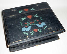 "Antique 1800's Hand Painted Doves 10.5"" Primitive Wood Hinged Writing Pencil Box"