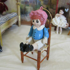 Jointed Wooden PUPPET GIRL DOLL Bonnet Dollhouse Toy Artisan Handmade Ornament
