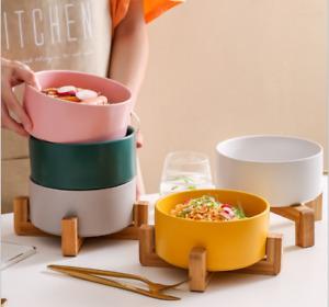 Creative Wooden Frame Salad Bowl Ceramic Bowl Pet cat Dog Bowl Tableware Bowl