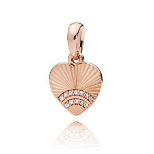 Pandora Fan of Love Charm Pendant 14 Carat Rosévergoldung Zirconia 387286CZ