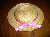 Doll Straw Hat with Pink Ribbon