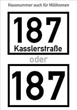 Hausnummer für Mülltonnen Türaufkleber Beleuchtung Klebebuchstaben Sticker Folie